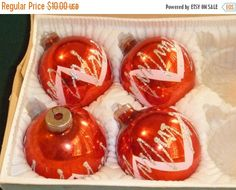 Christmas Ornaments Red Glass White Glitter J by EauPleineVintage