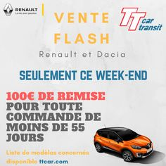 Vente Flash Renault - 100 euros offerts ce week-end sur une sélection de véhicules.  #ttcar #ttcartransit #expat #expatlife #vente #flash #sale #Renault #Eurodrive #renault-Eurodrive #RenaultEurodrive Week End, Vacuums, French, Vacuum Cleaners, French People, French Language, French Resources, France