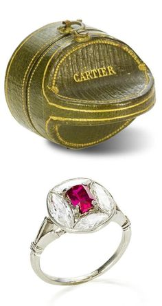 An Edwardian ruby and diamond ring, circa 1910. The ring belonged to the novelist, poet and gardener, Vita Sackville-West, who is best remembered for her unorthodox marriage to the writer and diplomat Sir Harold Nicolson, her affair with Virginia Woolf during the 1920s and for creating some of the most admired and influential English gardens of the 20th century. What a beautiful way to set marquise stones.