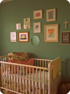 Nursery art wall; vintage crib