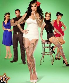 Kat Von d and the original cast of LA Ink Time Tattoos, Tatoos, Movies Showing, Movies And Tv Shows, Kat Van D, Miami Ink, Ink Master, Great Tattoos, Favorite Tv Shows