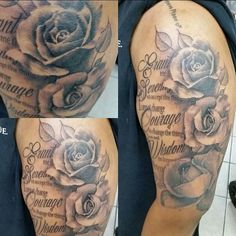 Serenity Prayer with roses tattoo by #chicagotattooartist @jakedoestattoos…