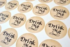 Drink Me Stickers Alice in Wonderland by TheRedStarDesigns on Etsy, $6.00