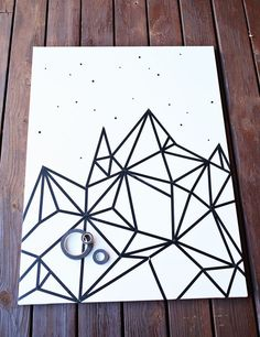 Washi tape wall art. http://www.abeautifulmess.com/2014/12/try-this-easy-washi-tape-wall-art.html?pintix=1