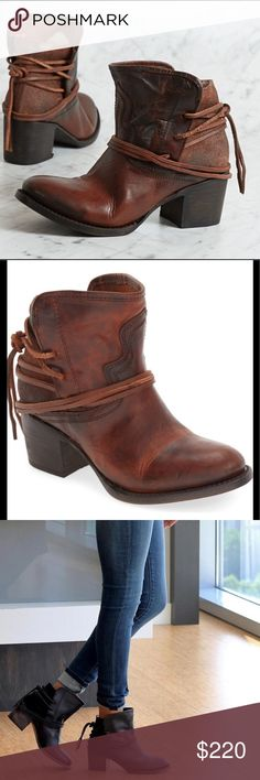 "Freebird by Steve Casey Boot cognac NWT Slender wraparound straps and a heavily worn finish heighten the rustic appeal of a leather bootie. An almond-toe silhouette and stacked block heel provide a rugged finish. 2 1/2"" heel (size 9) 5"" shaft Lace-up back Leather upper, lining and sole By Freebird by Steven; imported BP. Shoes Steve Madden Shoes Ankle Boots & Booties"