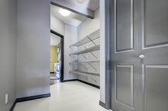A standard walk in pantry with 4 satin nickel wire shelves Closet Rod, Closet Shelves, Closet Storage, Closet Organization, Custom Closet Design, Custom Closets, Closet Designs, Shelving Solutions, No Closet Solutions