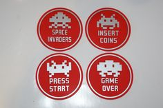 SPACE INVADERS set of 4 Circle Coasters ..Matt Red Perspex with Matt Silver Graphics...£14.95 + Delivery... see www.mojo-shop.co.uk for more details