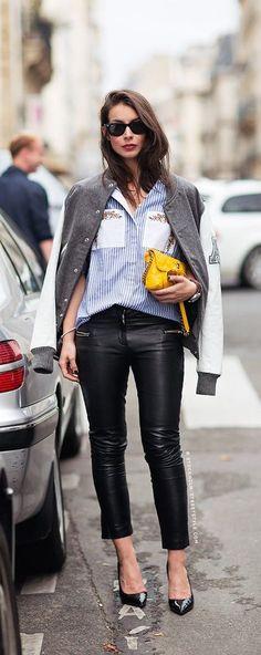 #street #fashion varsity jacket / casual @wachabuy