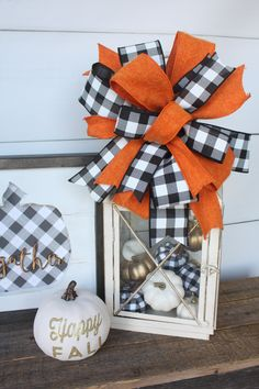 Your place to buy and sell all things handmade - Excited to share the latest addition to my shop: Fall Home Decor Black White Buffalo Plaid Bo - Fall Lanterns, Lanterns Decor, Fall Home Decor, Autumn Home, Autumn Fall, Fall Crafts, Holiday Crafts, Adornos Halloween, Plaid Decor