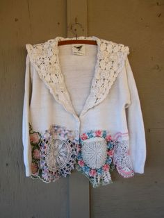Romantic funky sweater Upcycled clothing by lillienoradrygoods