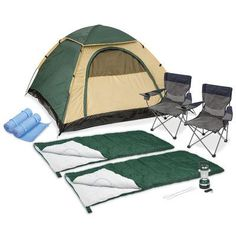 Features:  -2 Deluxe arm chairs with cup holder.  -Water-resistant remote control lantern lights up tent.  -2 Toaster forks ideal for roasting marshmallows.  -Quarter rainfly keeps out rain.  Product