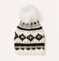 Faux Fur Fair Isle Pom Pom Hat - We heart the wintery vibe of this cozy fair isle topper.