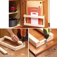 You can make this nifty, inexpensive rack and mount it inside a cabinet door to stash your cutting board out of sight. It goes together in a snap since it only requires a 6-ft. 1x2 and two L-brackets. Measure between the door stiles to get the maximum width of your rack. Make sure the rack will be wide enough for your cutting board (or spring for a new one). You'll also need to mount the rack low enough so it doesn't bump into a cabinet shelf when the door closes. Cut the bottom and face…