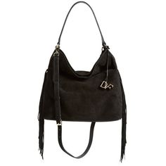 Diane von Furstenberg 'Large Voyage' Fringe Shoulder Bag ($398) ❤ liked on Polyvore featuring bags, handbags, shoulder bags, black, black purse, black leather shoulder handbags, black fringe shoulder bag, black handbags and leather handbags