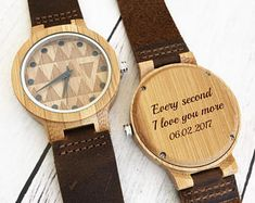 Wooden Watch Personalized Wood Watches for Men Leather Watch Wood Boyfriend Gift Wood Watch Men Engraved Wood Watch Gift for Him Mens Watch