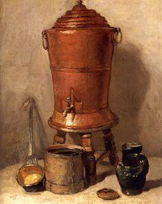 Jean-Baptiste-Siméon Chardin, The Copper Drinking Fountain 1734 | Oil on wood | 285 x 230 mm on ArtStack #jean-baptiste-simeon-chardin #art