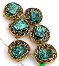 6 patina style 2 hole beads 10639