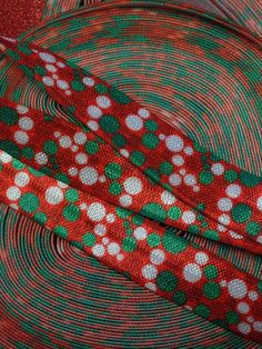 5/8  FOE Fold Over Elastic Red Green and by BellaandKateDesigns