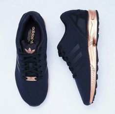 Rose Gold Trainers, Black And Gold Sneakers, Black Adidas Shoes, Rose Gold  Addidas 60663a46dce
