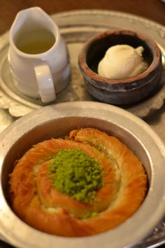 Kanafeh - Arab pastry with Nablusi cheese, Baku, Azerbaijan
