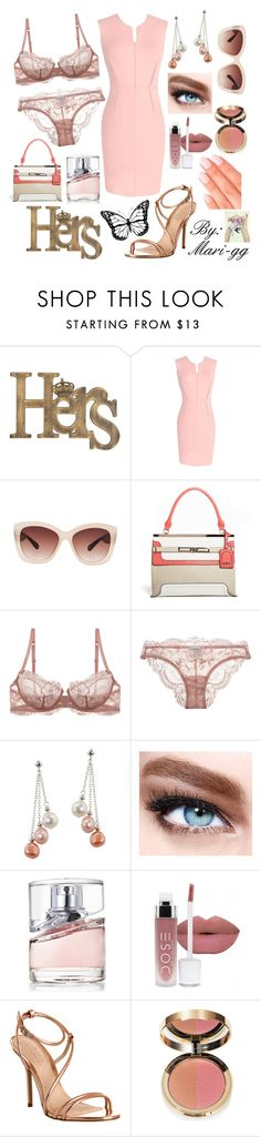 """""""With rosé lingerie"""" by mari-gg ❤ liked on Polyvore featuring Eloquii, Faith, La Perla, Honora, Maybelline, BOSS Hugo Boss, Office, Elegant Touch, women's clothing and women"""