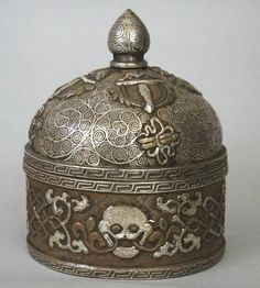 Container (drup phor) for ceremonial rice, Tibet, 19th-20th c., iron with metal inlay