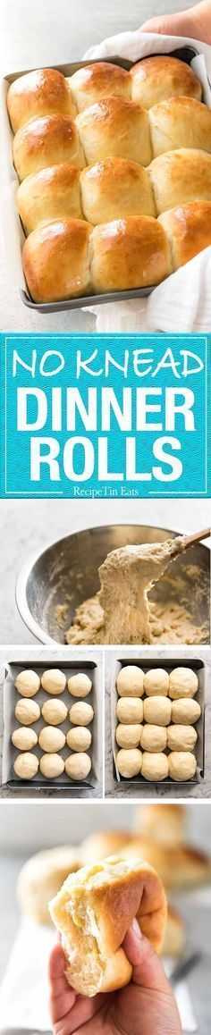 These NO KNEAD Dinner Rolls are like magic! No stand mixer, just mix the ingredients in a bowl! www.recipetineats.com