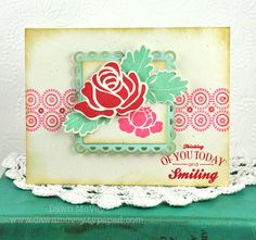 Thinking Of You Rose Card by Dawn McVey for Papertrey Ink (June 2012)