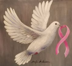 Dove with Pink Ribbon Acrylic Painting Tutorial FREE on YouTube #breastcancerawareness #pink #pinkribbon