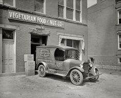 """Washington, D.C., 1926. """"Semmes Motor Co. -- Schindler's truck."""" From an interesting if moldy series of pictures showing Washington delivery trucks in their natural habitat of side streets and back alleys. Note the different varieties of """"Wantmor"""" peanut butter sandwiches. National Photo Co"""