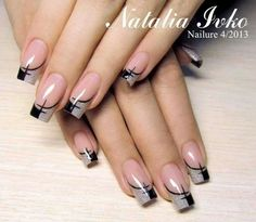 black and silver nails..