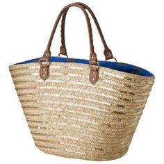 Natural Sequin Straw Tote.