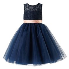 Thstylee Grey Navy Lace Tulle Bow Flower Girls Dresses Juniors Kids Dresses Size US 12T Navy Love this!
