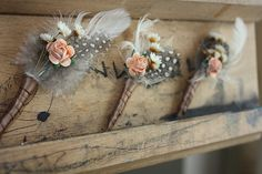 pEACH AND cream wedding | Set of 6 boutonnieres in peach, coffee and cream | Flickr - Photo ...