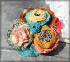 Anthropology Inspired Hair Accessory, Headband, Brooch, Flower Girl Headband, Turquoise, Coral, Mustard Hair Accessory, Baby Girl Hair Bow. $27.50, via Etsy.