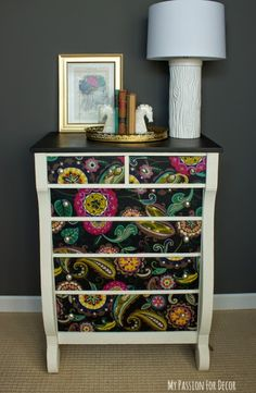 My Passion For Decor: Empire Dresser Makeover Using Fabric