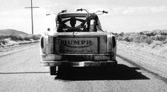 Steve McQueen's pickup truck loaded-up with his Bud Ekins' desert-modified Triumph Bonneville desert racer.