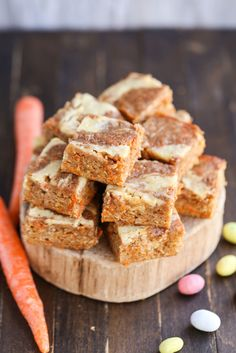Carrot Cake Blondies with Cream Cheese Swirl