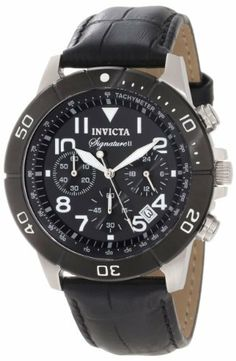 Invicta Men's 7345 Signature Chronograph Black Dial Black Leather Watch Invicta. $67.49. Japanese quartz movement. Mineral crystal; stainless steel case; black leather strap with alligator pattern. Black dial with silver tone and white hands, white Arabic numerals; luminous; unidirectional black ion-plated stainless steel bezel with white Arabic numerals; tachymeter scale on inner bezel. Chronograph functions with 60 second, 60 minute and 24 hour subdials; date...