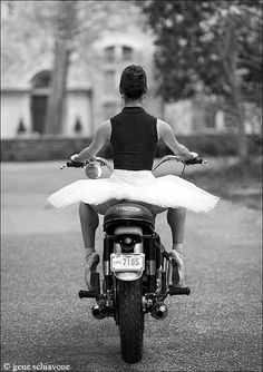 ballerina on an old Triumph; I can't tell if it was the Tiger or Bonneville.