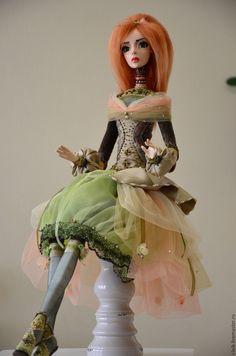 "ooak dolls, art dolls clay, hand made dolls Интерьерная #кукла ""Оливия"" - оливковый, авторская ручная работа, авторская кукла, #интерьернаякукла #dolls"