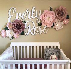 Baby Girl Nursery - Baby Girl Nursery - Cutout Name Signs - Two Names - girly happy nursery decor Rose Nursery, Nursery Room, Girl Nursery, Nursery Decor, Nursery Ideas, Name In Nursery, Flower Nursery, Safari Nursery, Nursery Signs