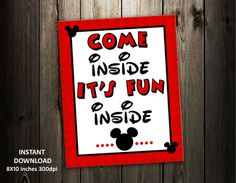 graphic regarding Come Inside It's Fun Inside Free Printable referred to as 50 Perfect Mickey Celebration shots in just 2015 Mickey Social gathering, Mickey