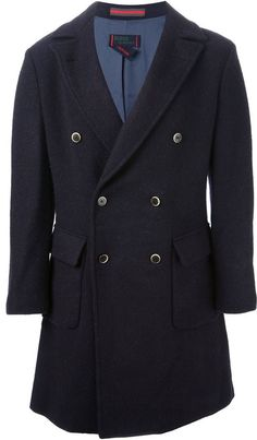 $533, Navy Overcoat: Homme Double Breasted Coat. Sold by farfetch.com. Click for more info: https://lookastic.com/men/shop_items/139017/redirect