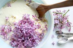 Lilac Scones with Rhubarb Curd