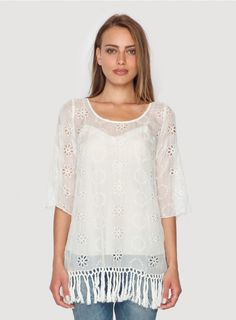 Mae Fringe Bottom Tunic The 4 Love and Liberty MAE FRINGE BOTTOM TUNIC exudes whimsical bohemian style! This white silk chiffon tunic features delicate eyelet and tonal embroidery detailing throughout, accented by a fringed hemline. Layer the MAE FRINGE BOTTOM TUNIC over a camisole and jeans, or wear it over a silk slip as a mini dress!  - White Silk Chiffon - Semi-Sheer Material - Scoop Neckline, ¾ Length Sleeves - Eyelet, Embroidery, and Fringe Detailing - Care Instructions: Dry Clean Only