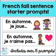 Check out a variety of French resources with fall themed vocabulary! Great for teaching fall vocabulary to Core French and French Immersion students! Spanish Teaching Resources, French Resources, French Sentences, Communication Orale, French Education, Core French, Sentence Starters, French Classroom, French Immersion