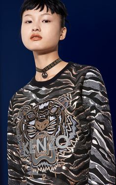 Tiger x Tiger Stripes sweatshirt, BLACK, KENZO