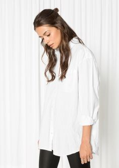 & Other Stories image 1 of Oversized Crinkle Shirt in White