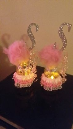 Pretty light up mason jars for a ballerina bday party (Made by me)- Jessica